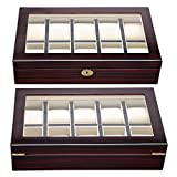 xl watch display - XL 10-Slot Wood Watch Jewelry Display Collecting Case Box Organizer Storage Golden Finish Metal Parts