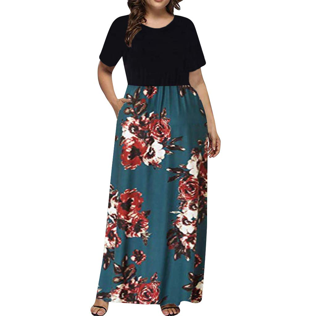 Women's Summer Bohemian Dress SengeiV Neck Wrap Vintage Floral Print Short Sleeve Boho Beach Long Dress L-5XL (XL, Blue) by Sengei