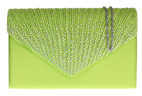 Wedding Evening Elegant Shoulder Clutch HandBags Prom Chain Satin Girly Diamante Bag Pleated Lime Green qvPwp1