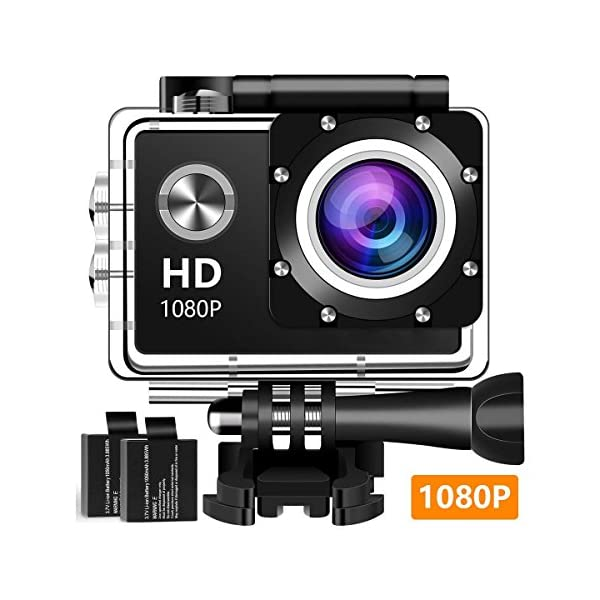 51%2B25tzKgEL. SS600 - Atzma 1080P Action Camera Ultra HD Underwater 30M Waterproof 140° Wide Angle Lens Sports Camcorder with 2 Rechargeable Batteries and Mounting Accessories Kit