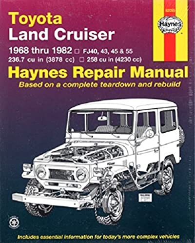 toyota land cruiser fj40 43 45 55 60 68 82 haynes repair rh amazon com Haynes Repair Manual 1991 Honda Civic Haynes Repair Manuals Mazda