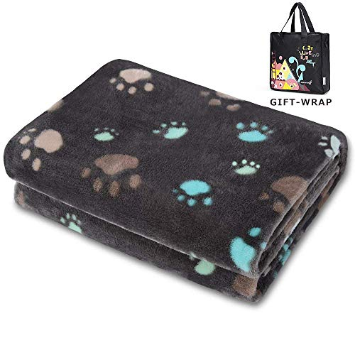 Allisandro Fluffy Pet Dog Blanket - Machine Washable - Durable Plush Puppy Cat Blanket - Soft and Warm Flannel Fleece Blanket - Suit for Medium Pets