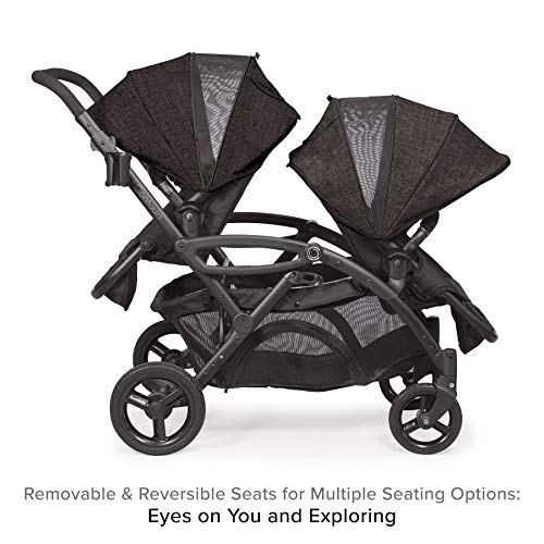 Contours Options Elite Tandem Double Toddler & Baby Stroller, Multiple Seating Configurations, Lightweight Frame, Car Seat Compatibility, Carbon Gray