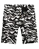 Hanmor Men's Casual Loose Fit Cotton Tactical Camouflage Cargo Shorts with Multi Pockets Black Camo 30