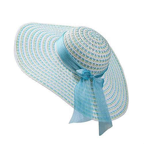 (Summer Lady Seaside Sunscreen Folding Beach Cap Female (Aqua)