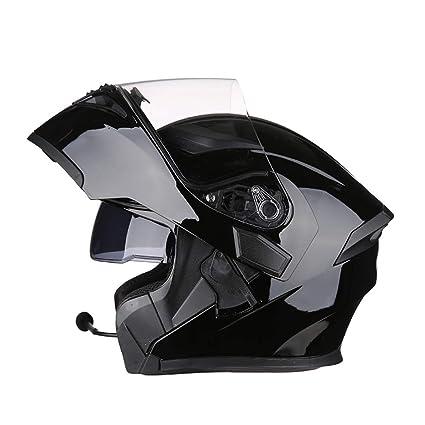 WWUX Casco De La Moto Abatible De Cara Completa Casco De Motocross Auriculares con Bluetooth Doble