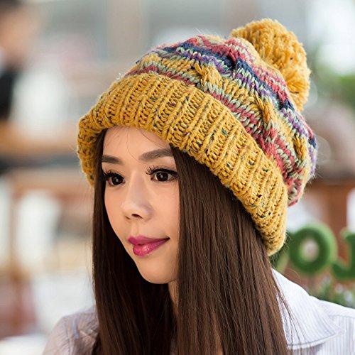de Tapa de Damas Mezclados versión Coreana Maozi Curling Beige de otoño Colores YELLOW Invierno Lana Punto para qWExS68w4P
