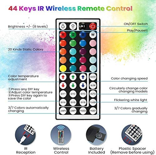 Wrrlight Led Lights Color Changing Led Strip Lights with Remote Controller-32.8ft