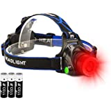 Hunting Red Light Headlamp Zoomable LED Headlight with 3 Lighting Mode and Water Resistant for Running Camping Hiking Reading.