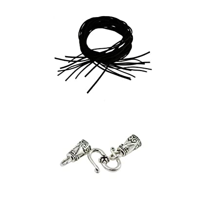 Segolike 30 sets Tibetan Silver S Hook End Caps with 30 Pieces Black Faux Suede Leather Cord DIY Making FIndings Crafts