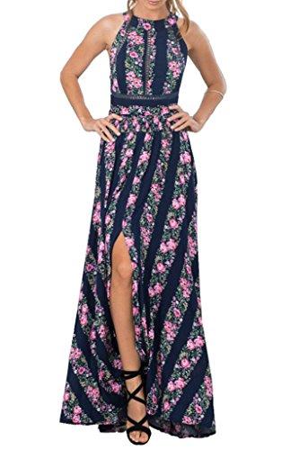 Simplee Apparel Las mujeres de cuello halter Backless maxi vestido largo estampado floral Slip Party Negro
