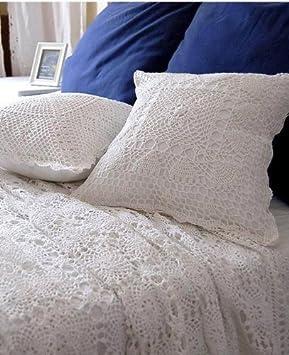 Victorias deco Funda de cojín de algodón Blanco de Crochet ...