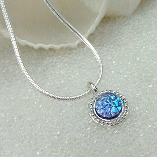 Sparkling Mermaid Tear, Dichroic Glass Pendant, Tropical Blue, Pink, Green Dainty, Silver Choker, Sea Glass, Handmade Dichroic Fused Glass (Fused Jewelry Glass Dichroic)