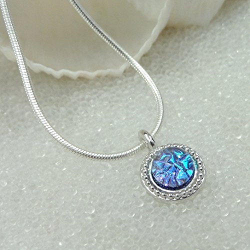 Sparkling Mermaid Tear, Dichroic Glass Pendant, Tropical Blue, Pink, Green Dainty, Silver Choker, Sea Glass, Handmade Dichroic Fused Glass