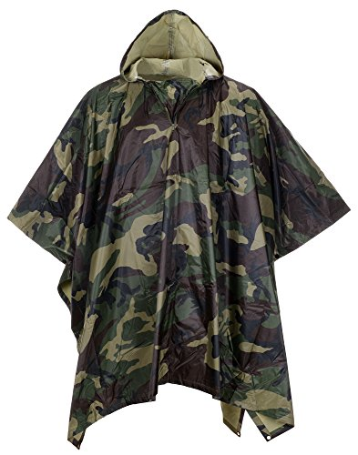 QZUnique Men Lightweight Outdoor Ripstop Waterproof Packable Travel Rain Poncho Camouflage Raincoat With Hood Pattern (Pattern Raincoat)