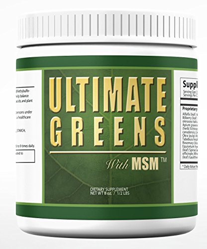 Ultimate Greens with MSM Powder 2000mg 8oz 113 servings Super Foods Supreme Green Grasses & Vegetables Dietary Supplement Drink 1+ month supply