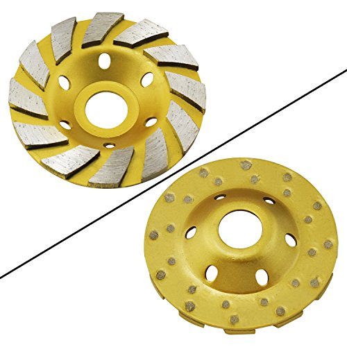 """OCR 4"""" Concrete Turbo Diamond Grinding Cup Wheel Three Row Turbo Cup Disc Grinder for Angle Grinder 12 Segs Heavy Duty (Yellow 12segs B)"""