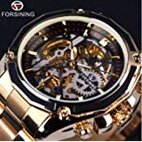 Forsining 2017 New Collection Transparent Case Golden Stainless Steel Skeleton Luxury Design Men Watch Top Brand Automatic Watch (Black Gold)