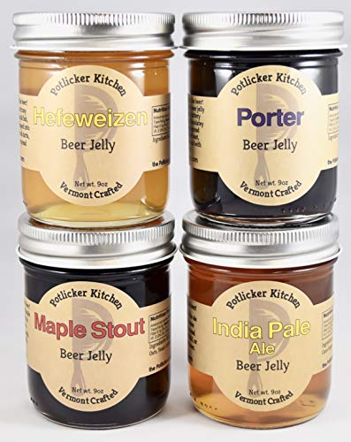 Set of 4 Jars Craft Beer Jelly - Maple Stout, IPA, Porter, and Hefeweizen