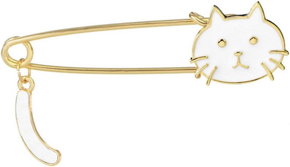Gespout Broche Pin Broches de Aleación Navidad Regalos Luces Colgantes con Brillando Accesorios de Ropa Mujer Kawaii Brooch de Suéter Bufanda Decoración Niñas Niños Gato Ornaments 7.1 * 1.8cm Blanco