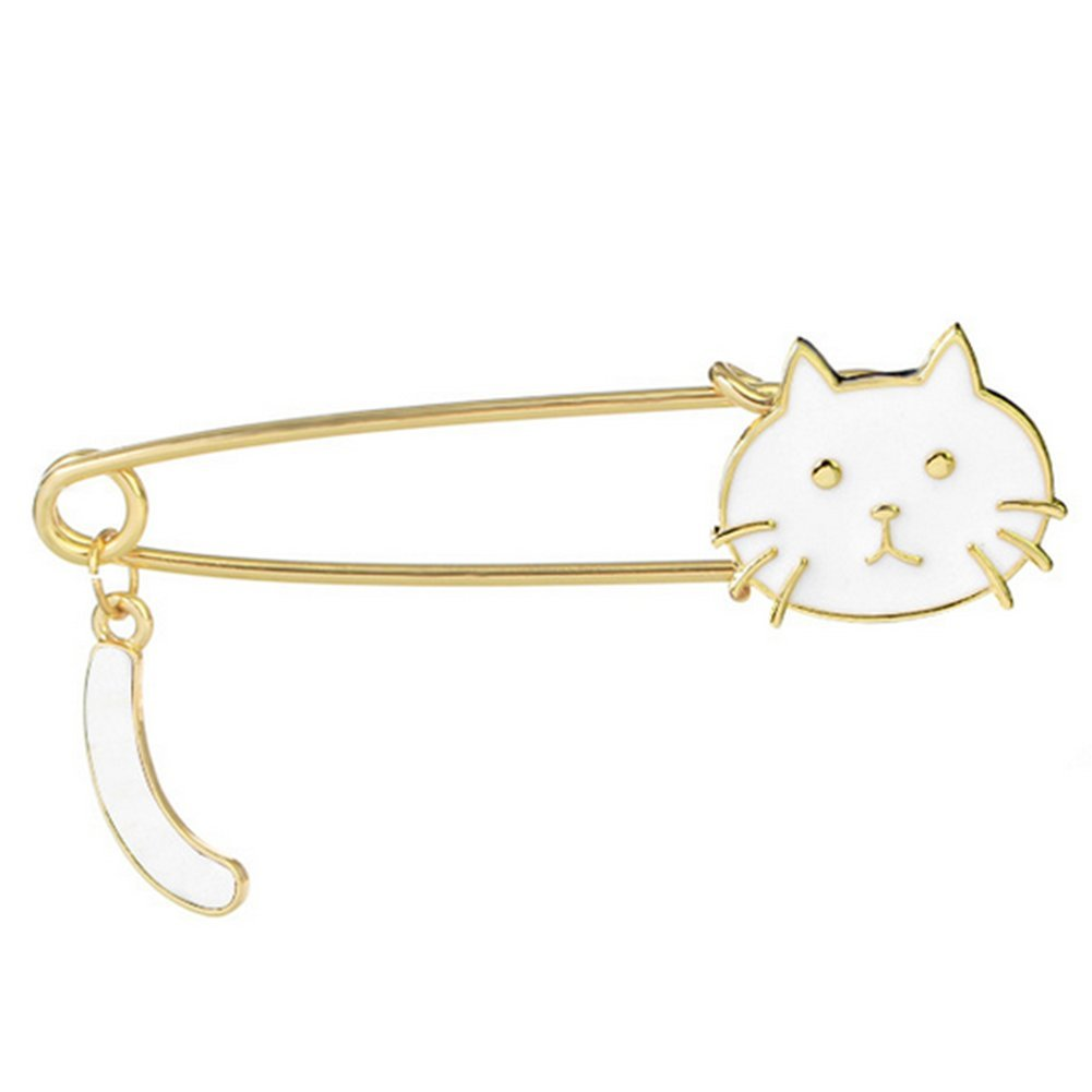 Hosaire Safety Pins Women's Cute Cat Scarf Pin Lapel Brooch Sweater Pin White