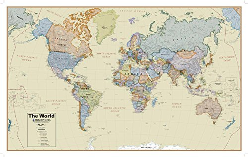 Hemispheres Boardroom Series World Wall Map, Educational Poster Giant Poster 61 x 38in ()
