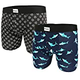 Mens Pouch Boxer Briefs Premium Cotton Button Fly Underwear,Shark Attack Diamond Printed Trunks 2 Pack with Gift Box