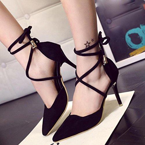 vovotrade Negro Sandalias de verano de las mujeres del gladiador de la correa del tobillo zapatos de tacón raso del alto talón