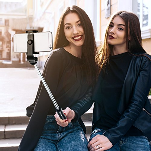 Bluetooth Selfie Stick Tripod, ELEGIANT 2 in 1 Extendable Monopod Selfie Stick with Removable Mini Bluetooth Remote, Adjustable Head and Tripod Stand Selfie Stick for iPhone/Huawei/Samsung (Black) by ELEGIANT (Image #1)