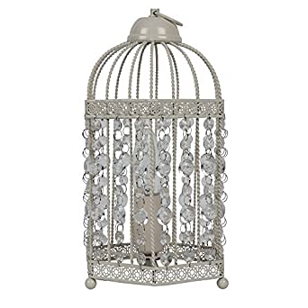 Shabby Chic Cream Birdcage Table Lamp with Clear Beads: Amazon.co ...