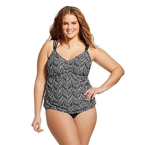Ava /& Viv One Piece Swimdress Black Twist Women/'s Plus Size