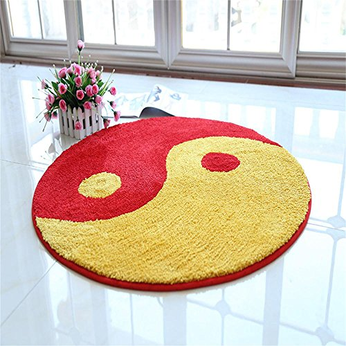 (TOYM Tai Chi Yin And Yang Feng Shui Fish Drawing Black And White Carpet Gossip Round-slip Mats Cushion Pad Health Practice ( Color : Yellow , Size : Diameter 80cm)