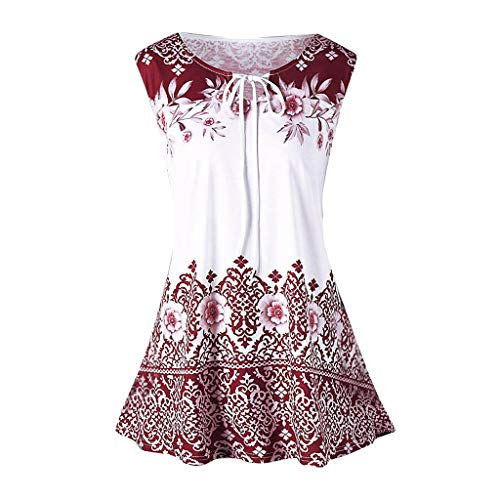 Caopixx Summer Tops for Women Sleeveless Floral Print Casual A Line Pleated Tunic Shirts Wine