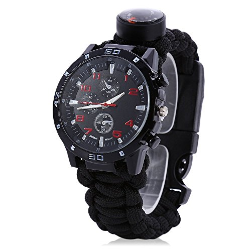Men Women Emergency Survival Watch with Paracord,Compass,Whistle,Fire Starter, Analog Watches, Survival Gear,Water Resistant ,Adjustable (Black)