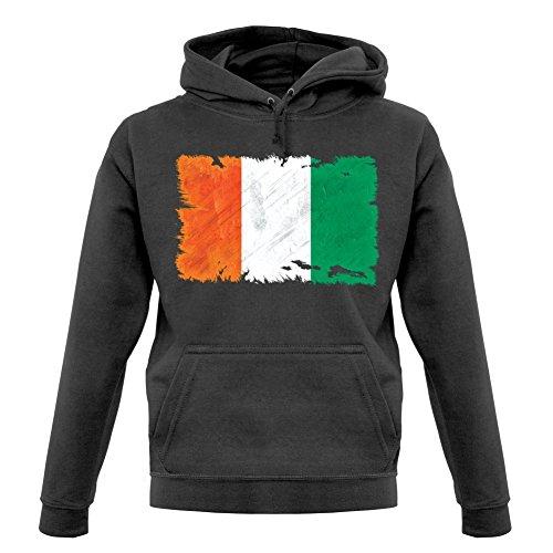 - Ivory Coast Grunge Style Flag - Unisex Hoodie - Graphite - XXL