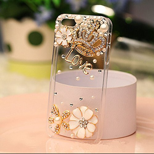 8f45e22bc8 iPhone 7 Case, LU2000 3D Gems Decor Clear Bling Crown Rhinestone Stones Skin  Case Back Phone Cover for Apple iPhone 7 4.7 Inches AT T Verizon Sprint ...