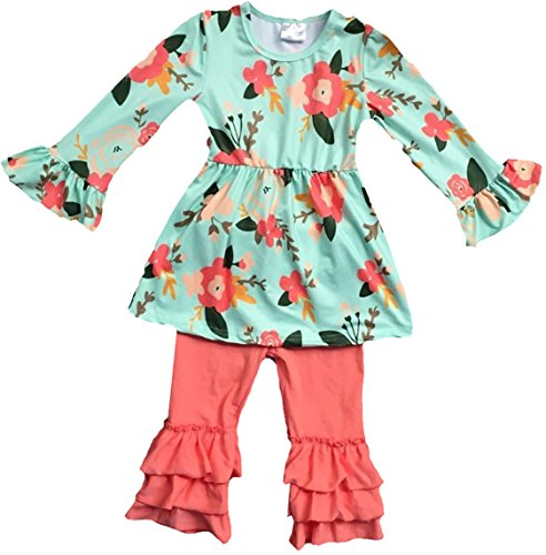 BluNight Collection Girls 2 Pieces Dress Set Floral Dress Solid Ruffle Legging Clothing Set Mint 7 XXL (201112) by BluNight Collection (Image #1)