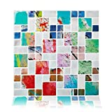 Cocotik Peel and Stick 3D Vinyl Sticker Kitchen Backsplash Tiles, Pack of 4 (10''x10'', Watercolour)