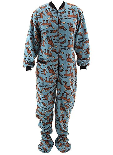 Lazy One Don't Moose With Me Blue Footie PJs for Adults