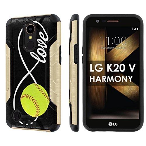 LG [K20 V/ K20 plus] LG Harmony [Slickcandy] [Gold/Black] Dual Layer Protection Brush Metal Texture [Phone Case] – [Love Softball]