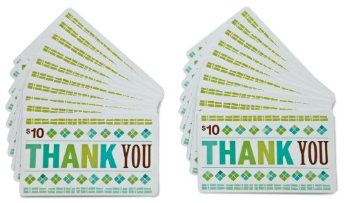 Amazon.com $10 Gift Cards, Pack of 20 (Thank You Card Design)