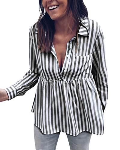 Chic OL Ray Verticale Chemisiers Top Boutonn Chemise V Col Col Sexy Longue Blouse Chemisier Noir Tops Rayure Shirt Style ShallGood Femme Manches Hauts qPt5zE