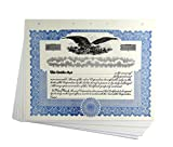 Blank Blue Stock Certificates with Stubs for Corporations