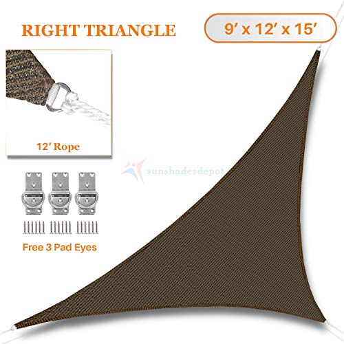Sunshades Depot 9 x 12 x 15 Sun Shade Sail Right Triangle Permeable Canopy Brown Coffee Custom Commercial Standard 180 GSM HDPE