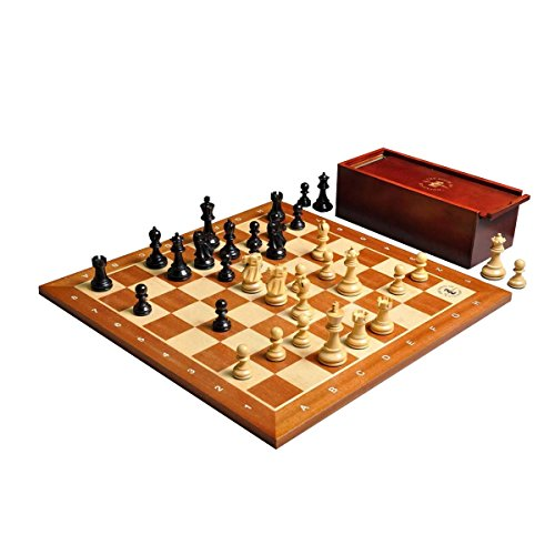 The House of Staunton The Legend Series Chess set, Box, Board Combination - Ebonized Boxwood and Natural Boxwood