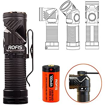 Rofis R1 CREE XM-L2 U2 LED 900 Lumens Multifunctional Magnetic USB Rechargeable Adjustable-head Flashlight Ultra Compact Lightweight EDC LED Flashlight / Headlamp,with RCR123A Battery