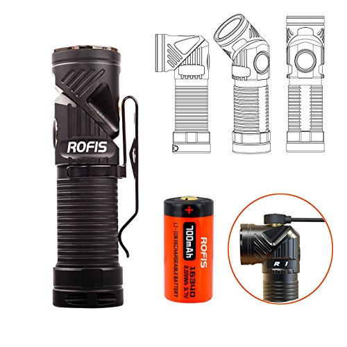 Rofis R1 CREE XM-L2 U2 LED 900 Lumens Multifunctional Magnetic USB Rechargeable Adjustable-head Flashlight Ultra Compact EDC LED Flashlight/Headlamp,with RCR123A Battery (Cool White)