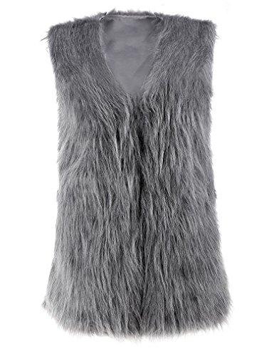 Gray Fur (Women Faux Fur Waistcoat Vest Gilet Outwear Coat Mid-Long Jacket (M, Gray))