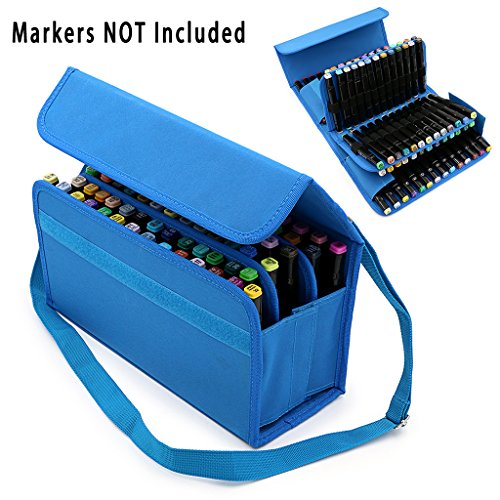 BTSKY Handy 80 Slot Carrying Marker Case Holder for Primascolor Marker and Copic Marker--Fits for Markers Pen from 15mm to 22mm Diameter(Blue)