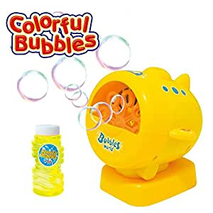Geekper Automatic Bubble Machine for Outdoor or Indoor Use - Gift Set with Miracle Bubbles Solution Refill - Kid's Fun (Yellow)